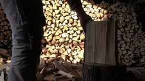 A man split oak log long old ax stock video footage