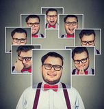 Man with split personality having mood swings royalty free stock image