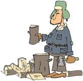 Man splitting firewood. This illustration depicts a bundled up man splitting firewood with an axe Stock Photos