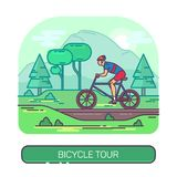 Male on mountain bike at road or man on bicycle. Man on sport bicycle on road or male on mountain bike traveling at forest. Drive activity or race exercise vector illustration