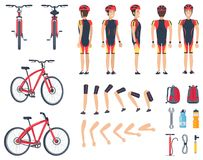 Man in special sport clothes and modern bicycle. Man in sport clothes and modern bicycle. Character constructor that consists of body parts, big backpack and Royalty Free Stock Images