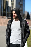 Man sport fashion, bearded guy model in black hoodie Royalty Free Stock Photos