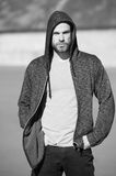 Man sport fashion, bearded guy model in black hoodie Royalty Free Stock Images