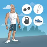 Man sport muscular strong urban background Royalty Free Stock Image