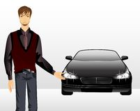 Man and sporting car Stock Photos