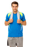 Man In Sports Clothing With Towel Around Neck Royalty Free Stock Image