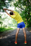 Man in sports clothing warming up before jog on nature. Portrait from back fit man in sports clothing warming up before jog on nature in summertime Royalty Free Stock Photography