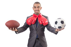 The man with sports gear isolated on the white Stock Photo