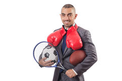 The man with sports gear isolated on the white Royalty Free Stock Photo