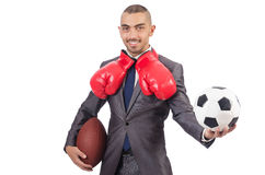 The man with sports gear isolated on the white Royalty Free Stock Photos