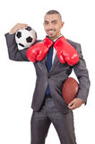 The man with sports gear isolated on the white Stock Photos