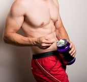 man with sports nutrition stock photo