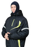 A man in a sports ski jacket Stock Photos