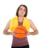Man in sports wear with basketball, isolated on white Royalty Free Stock Image