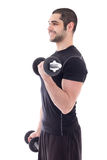 Man in sportswear doing exercises with dumbbells isolated on whi Stock Photos