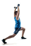 Man in sportswear exercising with dumbbells Royalty Free Stock Photos