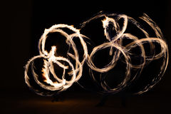 Man sppining fire poi in Thailand Royalty Free Stock Photo