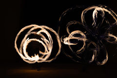 Man sppining fire poi in Thailand Royalty Free Stock Photos
