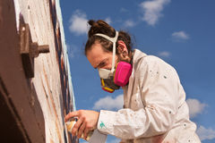 Man Spray Painting Royalty Free Stock Photo