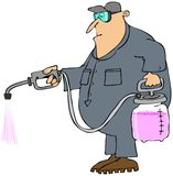 Man spraying chemicals. This illustration depicts a man in coveralls applying a pink liquid from a pressure sprayer Stock Image