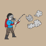Man spraying insecticide cartoon drawing Royalty Free Stock Image