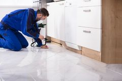 Man Spraying Pesticide In Kitchen. Man Spraying Pesticide Under The Wooden Cabinet In The Kitchen stock images
