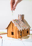 Man sprinkles Homemade gingerbread house confectionery sprinkling Stock Photography