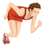 Man, Sprinting, Color Illustration Royalty Free Stock Photo