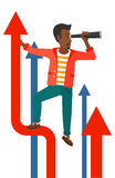 Man with spyglass on rising arrow Stock Image