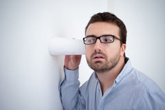 Man spying and listening a discussion Stock Photos