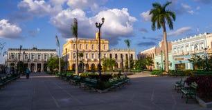 Man square of Sancti Spiritus, Cuba. View of main square of Sancti Spiritus, Cuba with colorful historic colonial Cuban buildings Royalty Free Stock Images