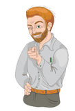 Man with squinty eye pointing finger and smiling. Hand drawn illustration of a red-haired man with squinty eye pointing finger and smiling. What about you Royalty Free Stock Image