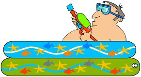 Man with a squirt gun. This illustration depicts a man laying in a kiddie pool and holding a squirt gun Royalty Free Stock Photography