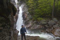 Man stående framme av Glen Ellis Falls på Ellis River Pin Arkivfoton