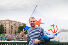 Man  in St. Petersburg during the parade of the Navy Stock Images
