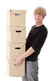 Man with stacked Boxes Stock Image