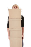 Man with stacked Boxes. Isolated on white Stock Image