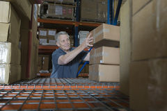 Man Stacking Boxes In Warehouse Stock Image