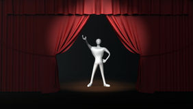 Man with  stage curtain on stage Royalty Free Stock Photo