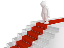 Man and staircase (clipping path included) Stock Photos