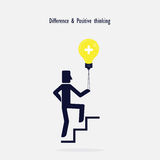 Man on Stairs going up and creative light bulb symbol. Stock Photos
