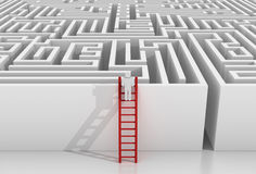 Man on stairs and maze. 3d rendered image royalty free illustration