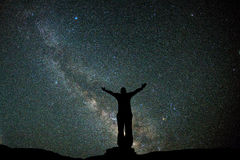 Man Stand At Night Sky View With Stars And Milky Way Stock Images