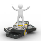 Man stand on dollars Royalty Free Stock Photos
