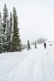A man stand facing the mountain on a path cover with snow Stock Photo
