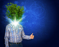 Man stand with green tree instead his head Stock Photography