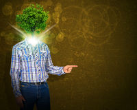 Man stand with green tree instead his head Royalty Free Stock Photos
