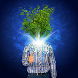 Man stand with green tree instead his head Stock Images