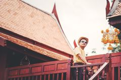 Man stand in the house thai style between travel. stock photo