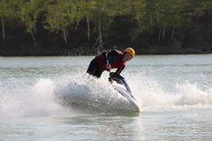 A man stand on the jet ski. Royalty Free Stock Photo
